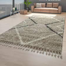 teppich beige hochflor wohnzimmer weich flauschig skandi optik rauten design größe 60x100 cm