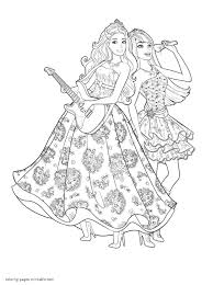 Barbie Coloring Pages The Princess Popstar With And