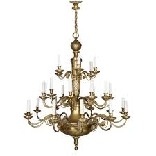 Antique Bronze and Brass Chandelier by E F Caldwell For Sale at