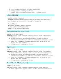 Resume Examples For Graphic Design Students Combined With Sample Artist Animator D