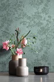 newroom vliestapete grün tapete blumen floral blumentapete mustertapete weiß dunkelgrün blätter modern für schlafzimmer wohnzimmer küche