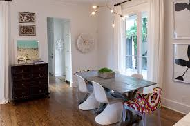 Eclectic Beach House Decor Dining Room Transitional With Colorful Chairs White Curtains Zinc Top Table