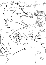 Fight Dinosaurs Coloring Pages For Kids Printable Free