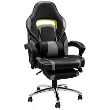 LANGRIA New Gaming Chair Racing Style Faux Leather High Back Chair With  Footrest Headrest And Lumbar Cushion Ergonomic Adaptive Design, Black And  Gray