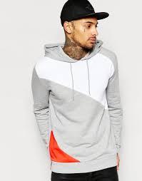 image 1 of asos hoodie with cut u0026 sew panels mens sweatshirts