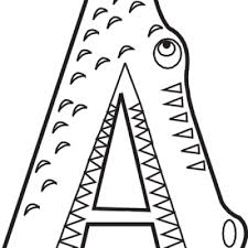 Coloring Pages Printable Unique Fish Color Letters A Abstract Style Animal Sharp Teeth Eyes Crocodile Cool