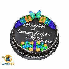 shape chocolate cake with flower