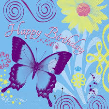 Happy Birthday Butterfly Lunch Napkin 16 CT