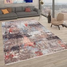 teppich moderner kurzflor teppich für wohnzimmer abstrakter used look in bunt