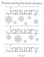 Practice Writing The Word January Coloring Page