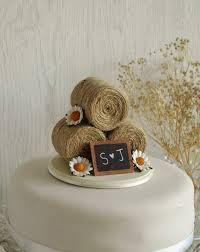 Rustic Wedding Cake Toppers Topper Hay Bale With Daisies