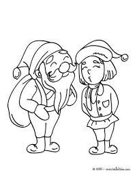 Santa With Elf Coloring Page