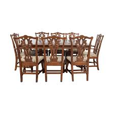 Carved Wood Dining Set With Two Extensions And Eight Chairs Discount