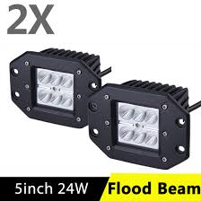 2X 5inch Flush Mount LED Work Light Bar Offroad Flood Beam Driving ... Turbosii Pair 7 Inch Led Light Bar Off Road Driving Fog Lights Super 10w Roundsquare Spotflood Beam Led Work For Car Motorcycle Land Rover Defender Offroad Truck 4x4 27w Round Spot Lightfox 20 Inch 126w Cree 4wd Flood 4 54w Flood Dc 1030v 172056 Lamp 2 Cree For Dicn 1 5in 45w Floodlights 45w Working 1pcs 5inch 18w Pod 2pcs 27w Tractor Boat