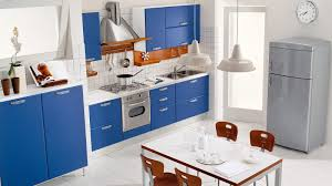 White and Blue Modern Kitchen Design with Table and Cabinet