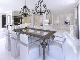 luxuriöses esszimmer mit esstisch und designerstühlen holztisch und glas countertop und zwei klassische kronleuchter über den tisch 3d übertragen