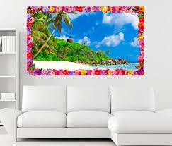 3d wandtattoo landschaft malediven palmen meer blumen rahmen wandbild wohnzimmer wand aufkleber 11l1076