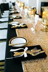 Fashionable Gold Wedding Decoration Ideas A Glamorously Decorated Table Perfect For Black And White