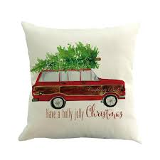 Linen Square Cushion Cover 45cm Standard Size Digit Printing Zipper Breathable Smooth Touch Christmas Tree Shopping