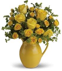 Send Telefloras Sunny Day Pitcher Of Roses For Fresh And Fast Flower Delivery Throughout Metairie LA Area