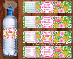 Flamingo Water Bottle Labels Pineapple Party Birthday Party