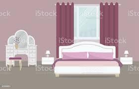 schlafzimmer in lila farbe stock vektor und mehr bilder behaglich