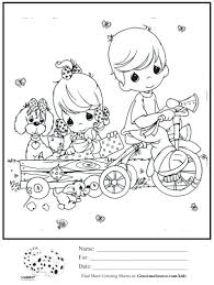 Kids Coloring Page Boy Girl Trike Pulling Wagon Sheet Pages Printable Baby To Print Astro Free
