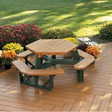 picnic table attached bench 6 foot hexagon recycled