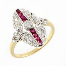 deco ruby and ring rings deco style engagement rings vintage edwardian