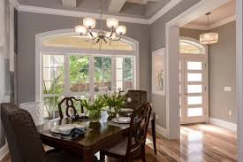 Small And Airy Contemporary Dining Room With Sherwin Williams Ellie Gray SW 7650 Wall Paint