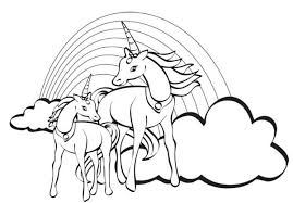Rainbow Two Unicorn With A At Their Back Coloring Page