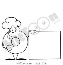 Coloring Page Outline Of A Donut Character Wearing Chef Hat And Standing By Blank Sign 231578