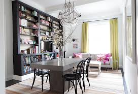 In Her Multifunctional Dining Room Lilly Opted For Chic Comfort A Striped Rug Is