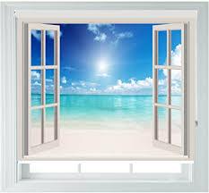 aoa rollo mit motiv fenster mit strandblick für schlafzimmer badezimmer küche und wohnwagen verschiedene größen window 2ft