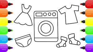 Cute Washing Machine How To Draw Baby Toys And Clothes Children Coloring Book Drawing For Kids