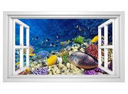 3d wandtattoo unterwasser welt korallen fische fenster selbstklebend wandbild sticker wohnzimmer wand aufkleber 11h730 3dwandtattoo24 de