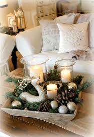 Fill A Tray With Candles Deer Evergreen Pine Cones And Christmas Ornaments