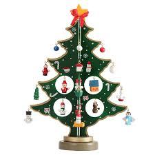 Fablcrew Christmas Tree Desktop Decoration Mini Wooden DIY Xmas Tree