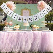 1 Tutu Table Skirt JUST MARRIED Banner Tulle Princess Wedding Decor Outdoor Party Decoration In DIY Decorations From