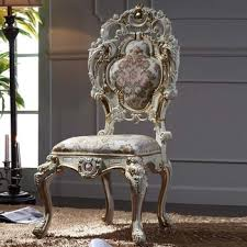 Luxury Classic Baroque Chair Italian Solid Wood Frame With Leaf Gilding Dining Room Furniture French Rococo