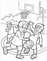 Children Plays Basketball Coloring Page