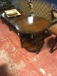 End Table Bernhardt Dark Wood with Black Metal Legs 28