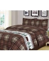 Plaid Bear King Comforter 3 Piece Bedding Set Rustic Cabin Lodge