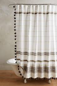 Plum And Bow Pom Pom Curtains by Plum And Bow Tassel Fringe Grey Shower Curtain