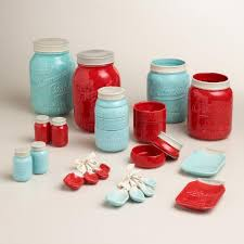 Red Kitchen Blue Mason Jar Salt And Pepper Shaker