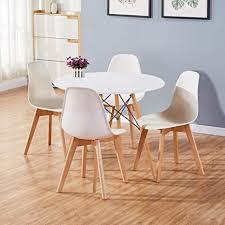 goldfan runder esstisch mit 4 stühlen moderner esstisch rund matt lackierter küchen 4er set esszimmerstuhl für esszimmer büro wohnzimmer weiß