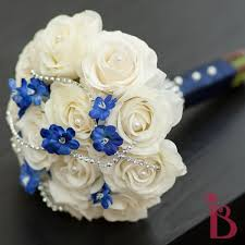 Blue And Cream Wedding Bouquets