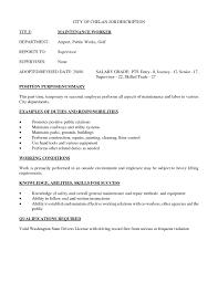 Maintenance Job Resume Simple Best S Of Employee Description Sample Jg A37355