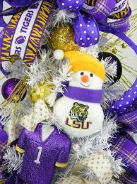 LSU Snowman Tabletop Christmas Tree