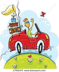 Clipart Of Travel Boy Drive Car K7942474
